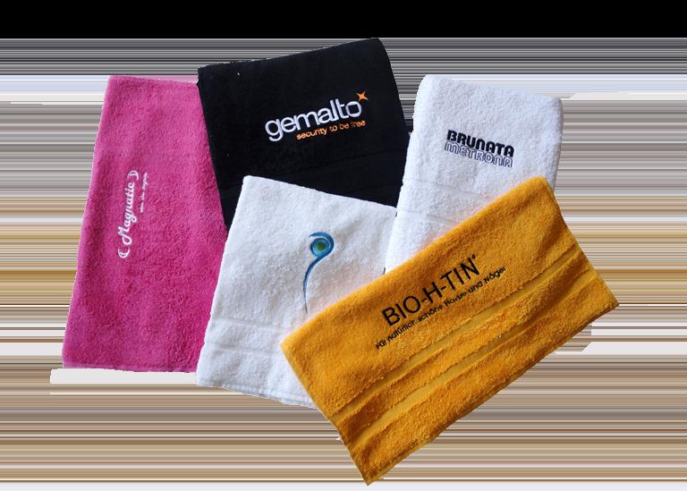 Handtuch besticken mit verschiedenen Logos